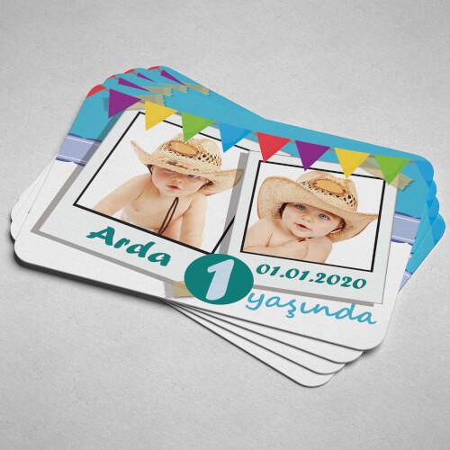 2 Fotoğraflı Erkek Bebek Doğum Günü Magneti