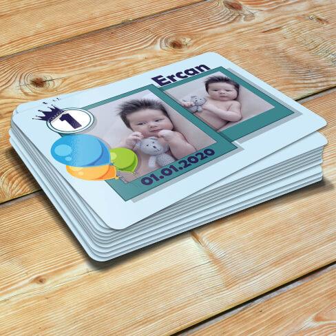 2 Fotoğraflı Erkek Çocuk Doğum Günü Magneti