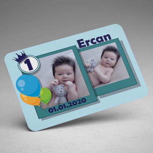 2 Fotoğraflı Erkek Çocuk Doğum Günü Magneti - Thumbnail