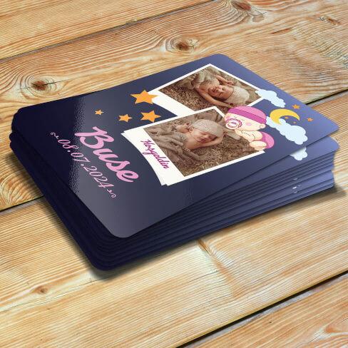 Tisho - 2 Fotoğraflı Hoşgeldin Kız Bebek Magneti