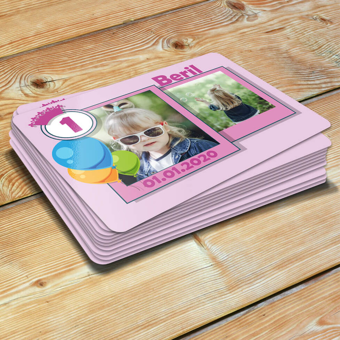 - 2 Fotoğraflı Kız Bebek Doğum Günü Magneti