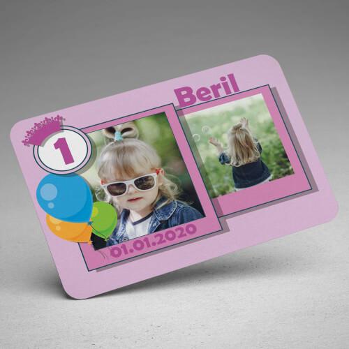 2 Fotoğraflı Kız Bebek Doğum Günü Magneti - Thumbnail
