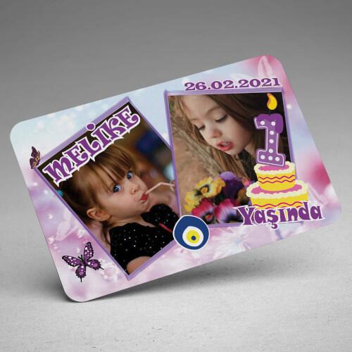 2 Fotoğraflı Kız Çocuk Doğum Günü Magneti - Thumbnail
