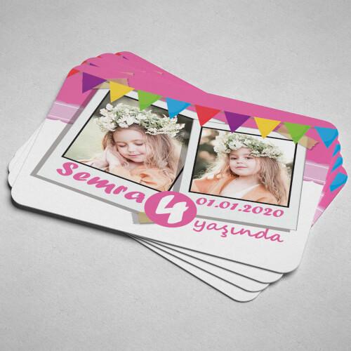 2 Fotoğraflı Kız Çocuk Doğum Günü Magneti