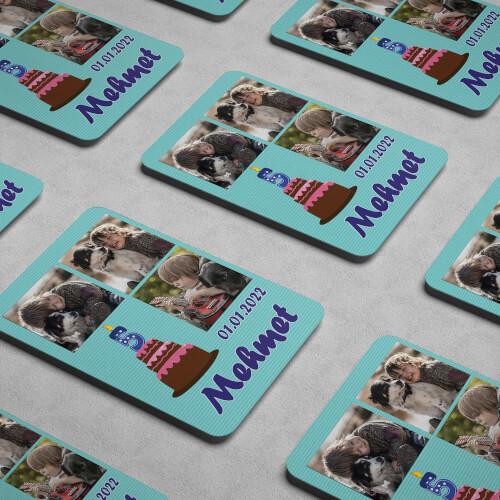 3 Fotoğraflı Erkek Çocuk Doğum Günü Magneti - Thumbnail