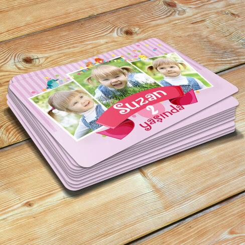 - 3 Fotoğraflı Kız Bebek Doğum Günü Magneti