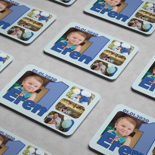 4 Fotoğraflı Erkek Bebek 1 Yaşında Magneti - Thumbnail