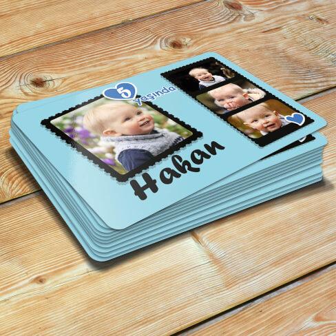 Tisho - 4 Fotoğraflı Erkek Bebek Doğum Günü Magnet Hediyesi