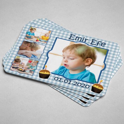 4 Fotoğraflı Erkek Çocuk Doğum Günü Magneti - Thumbnail