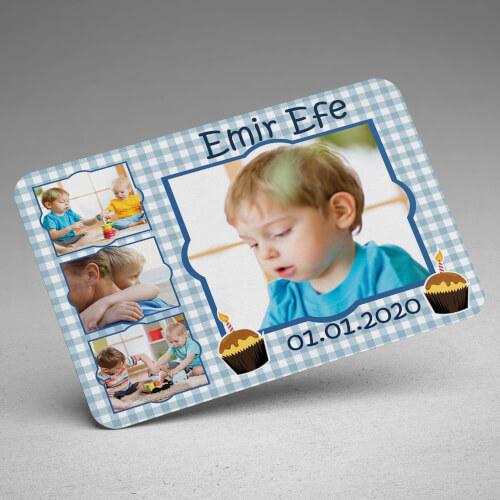 4 Fotoğraflı Erkek Çocuk Doğum Günü Magneti