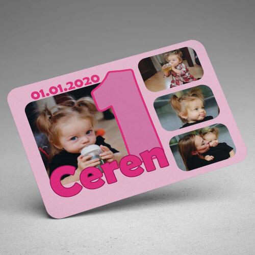 4 Fotoğraflı Kız Bebek 1 Yaşında Magneti