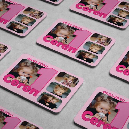 4 Fotoğraflı Kız Bebek 1 Yaşında Magneti - Thumbnail