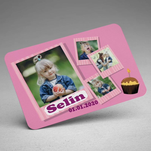 4 Fotoğraflı Kız Çocuk Doğum Günü Magneti - Thumbnail