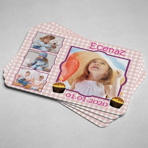 4 Fotoğraflı Kız Çocuk Doğum Günü Magneti