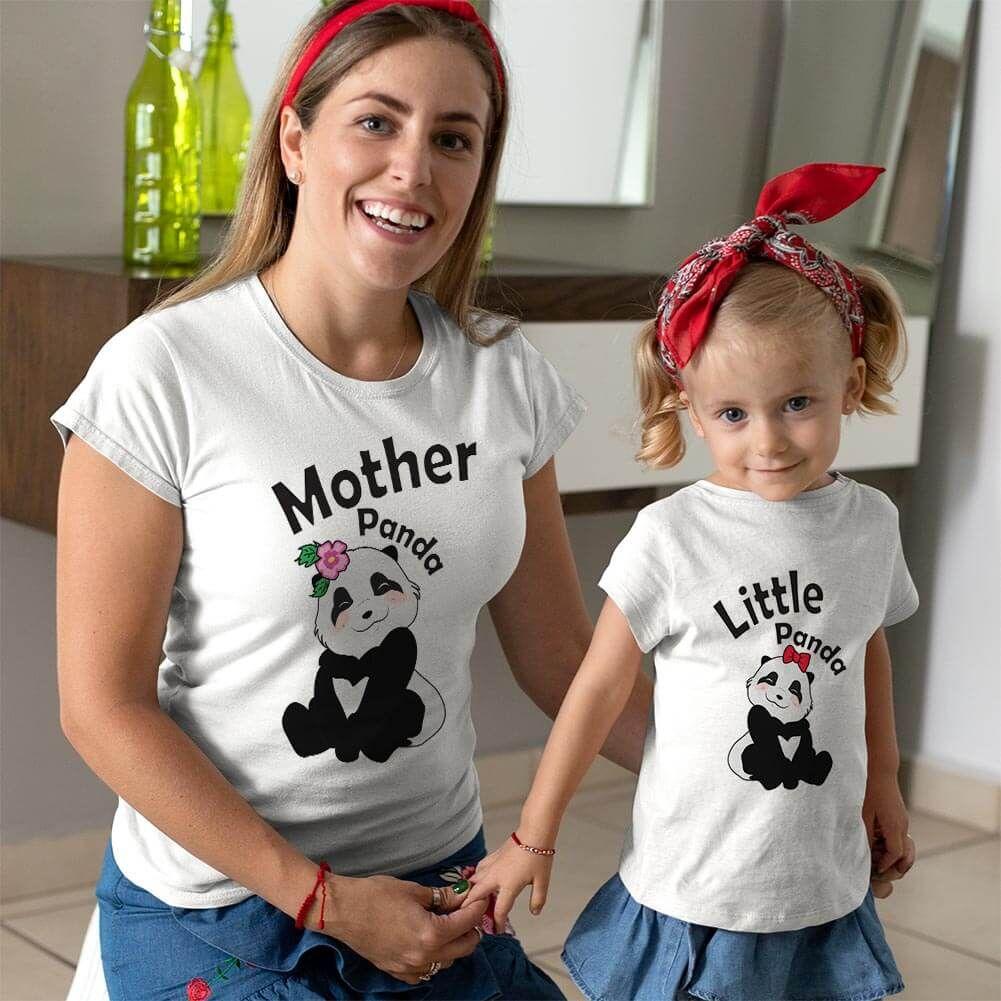 Sevimli Panda Anne ve Kız Çocuk Tişört Kombini
