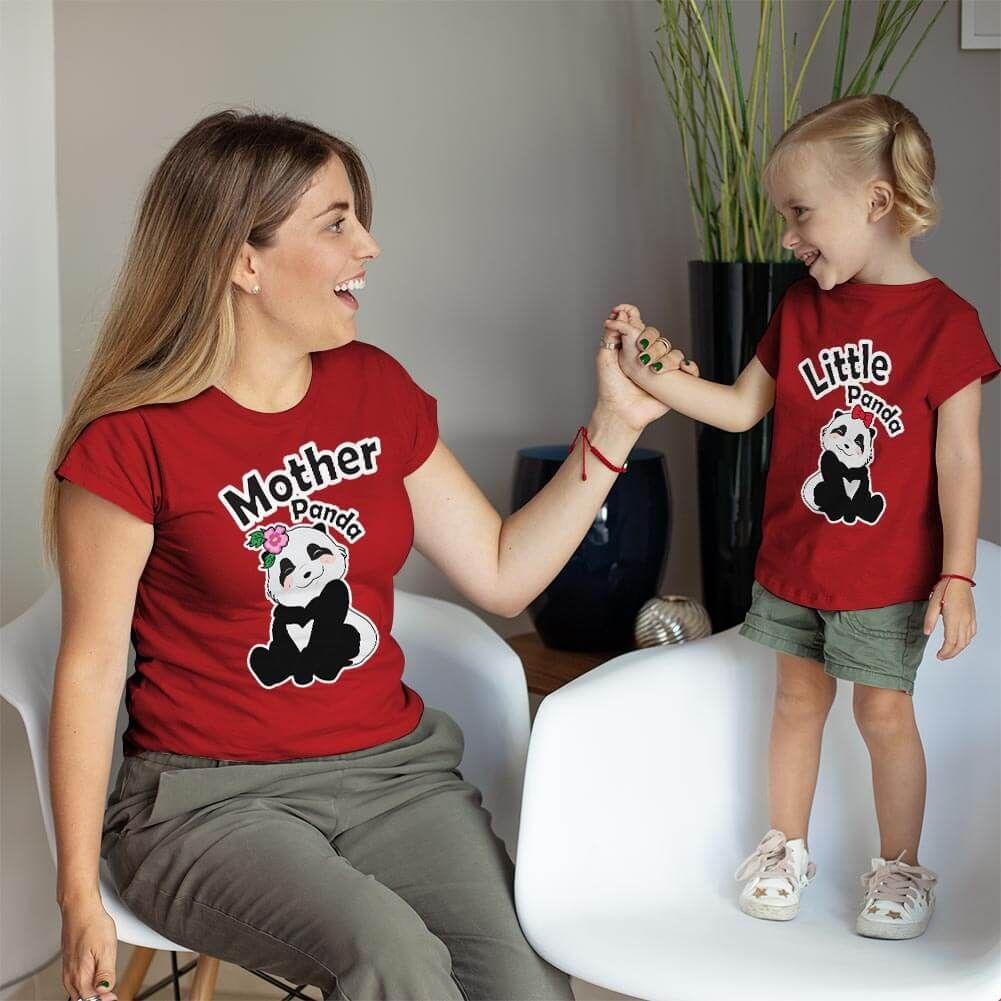 Sevimli Panda Anne ve Kız Çocuk Tişört Kombini (1)