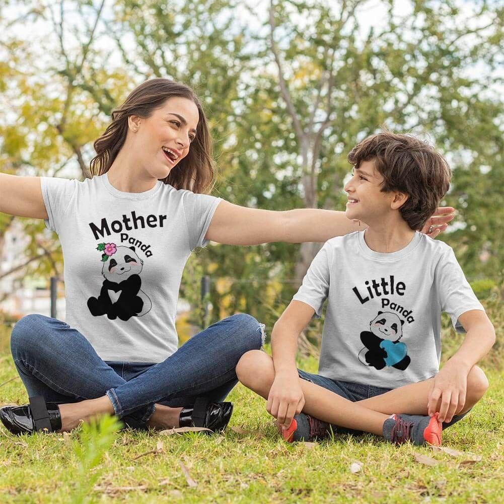 Sevimli Panda Anne ve Erkek Çocuk Tişört Kombini
