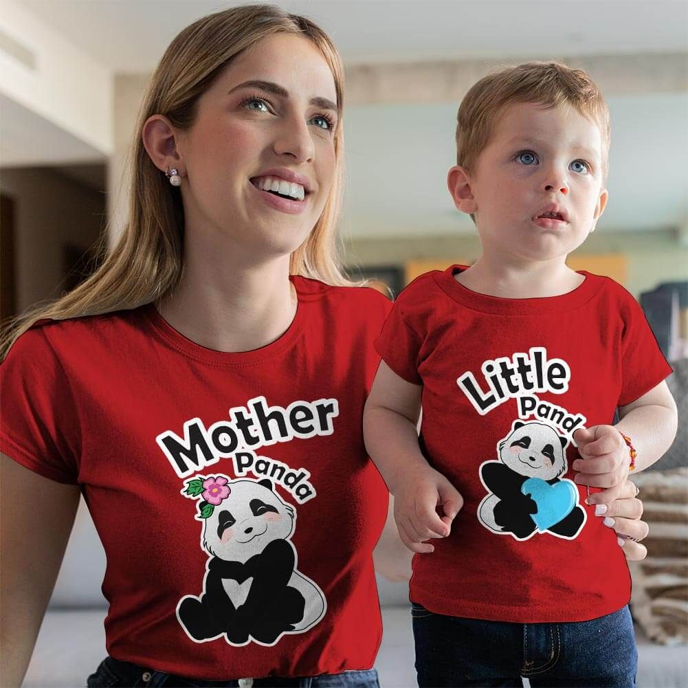 Sevimli Panda Anne ve Erkek Çocuk Tişört Kombini (1)