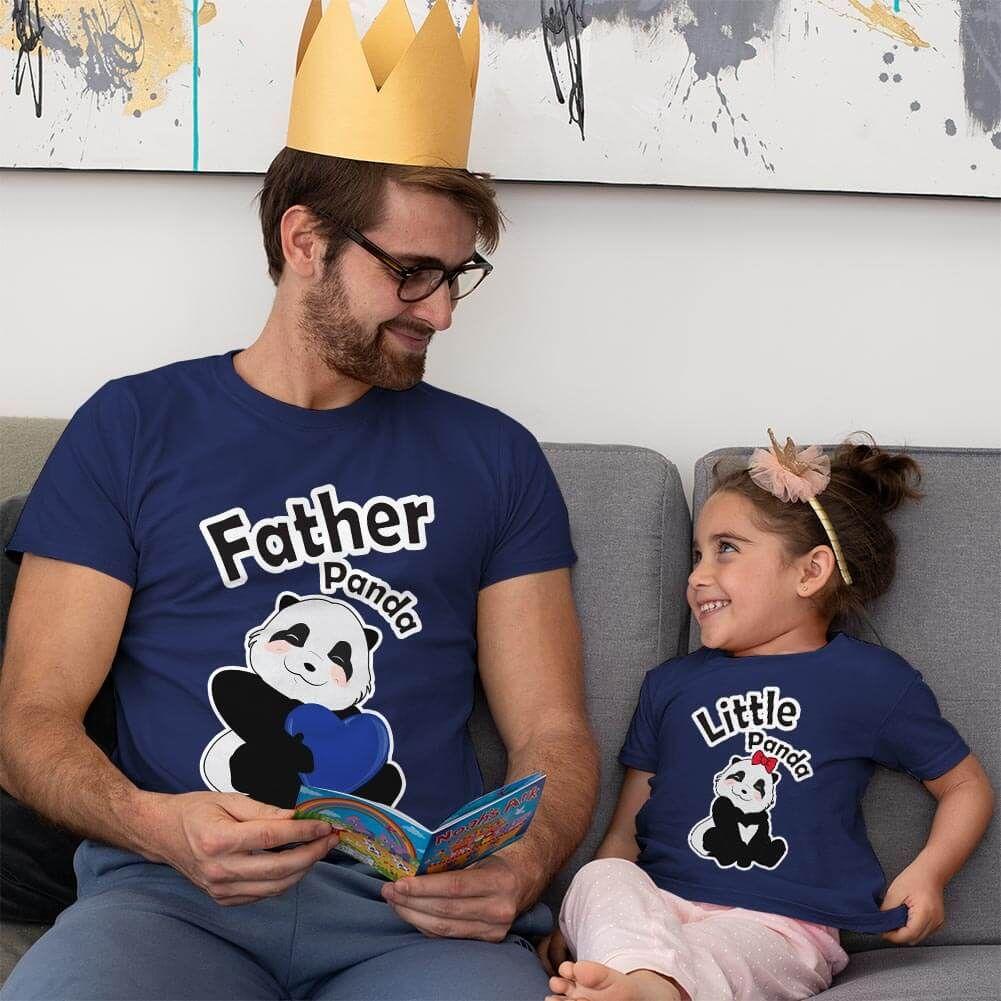 Sevimli Panda Baba ve Kız Çocuk Tişört Kombini