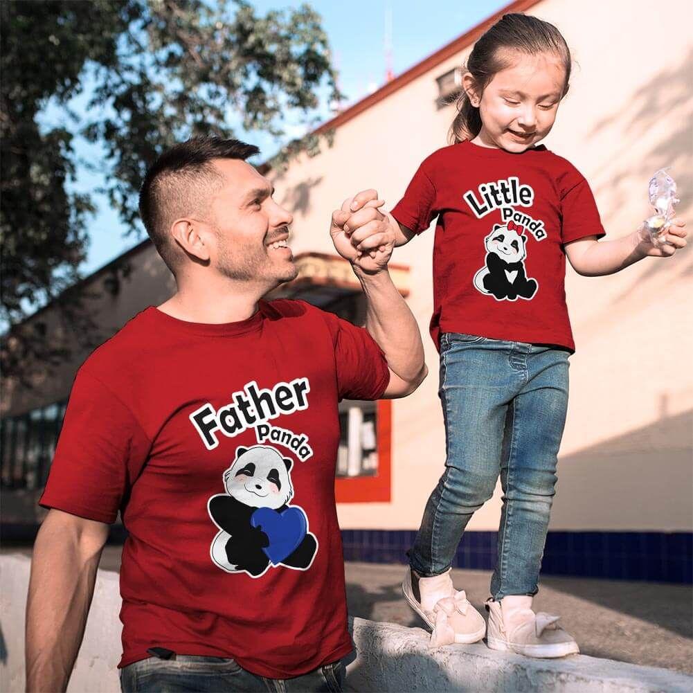 Sevimli Panda Baba ve Kız Çocuk Tişört Kombini (1)
