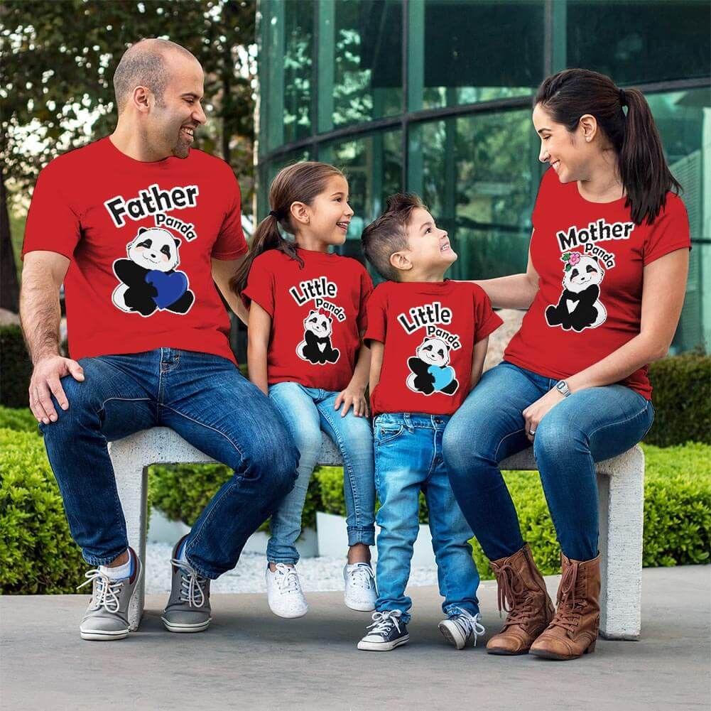 Sevimli Panda Aile Tişört Kombini (1)