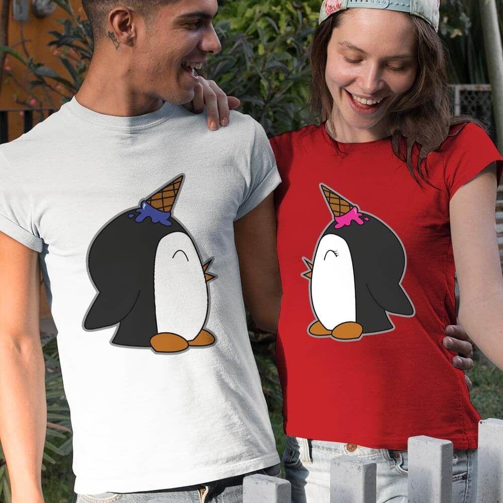 Penguen Baskılı Sevgili Tişört Kombini