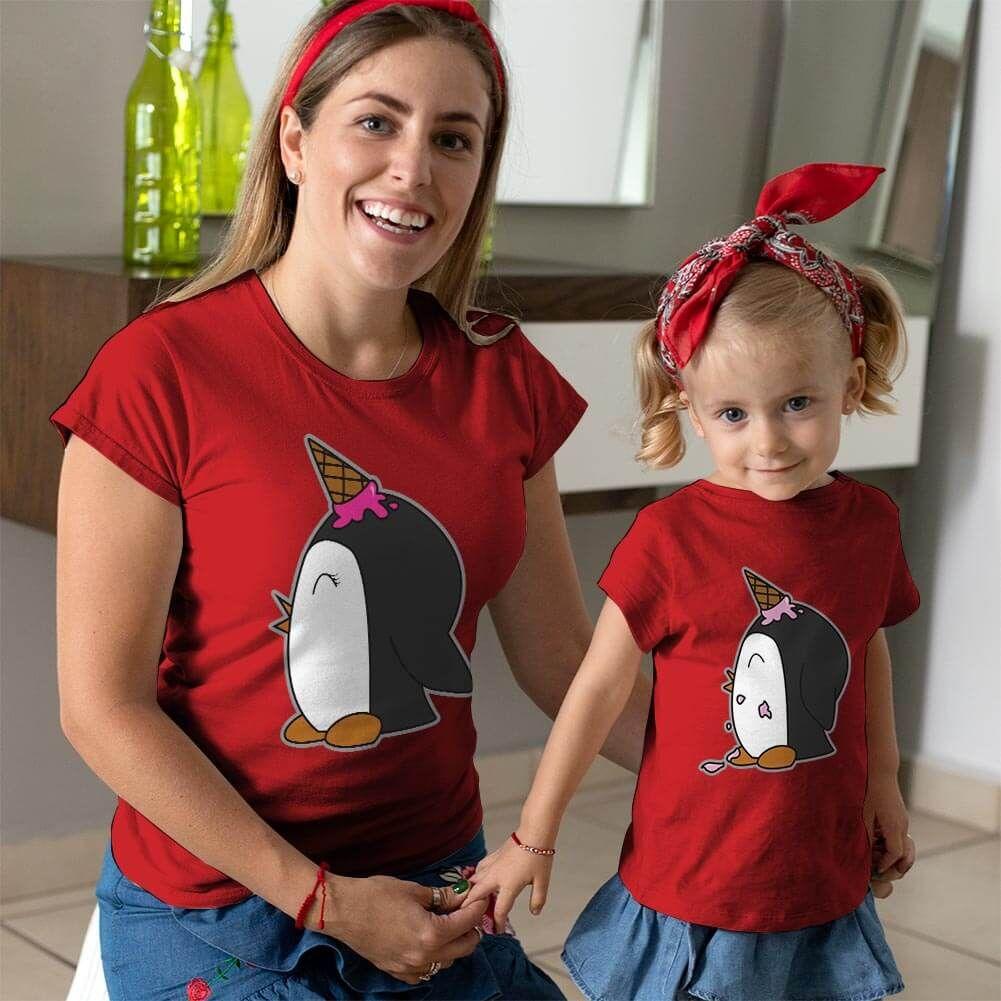 Penguen Baskılı Anne ve Kız Çocuk Tişört Kombini