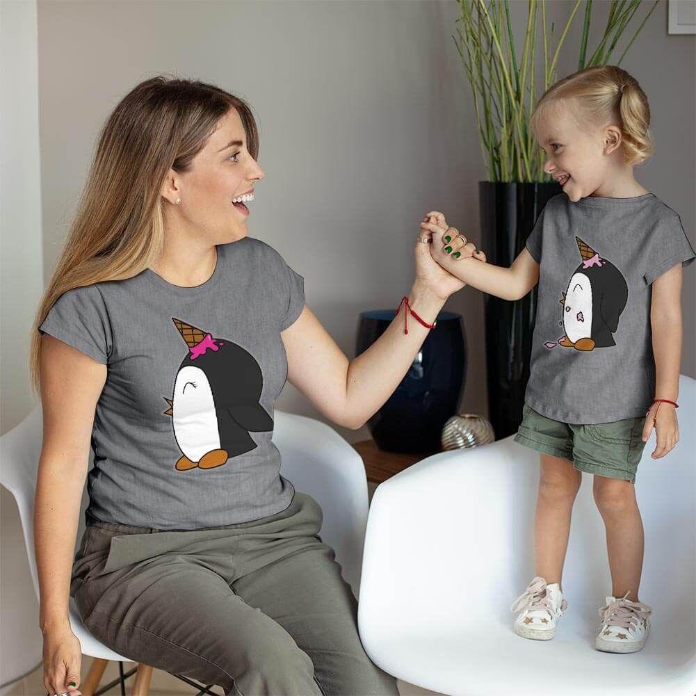 Penguen Baskılı Anne ve Kız Çocuk Tişört Kombini (1)