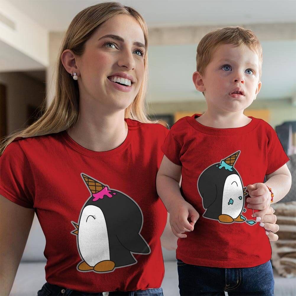 Penguen Baskılı Anne ve Erkek Çocuk Tişört Kombini (1)