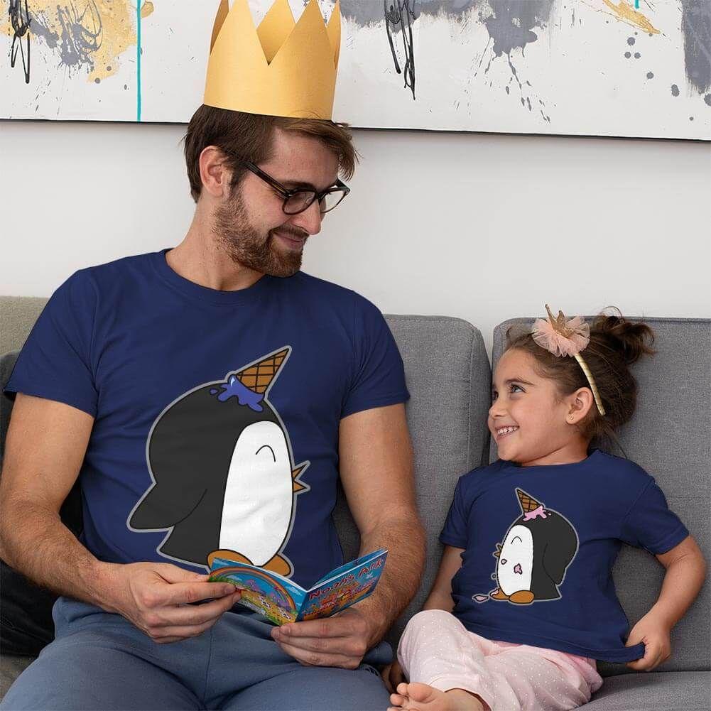 Penguen Baskılı Baba ve Kız Çocuk Tişört Kombini