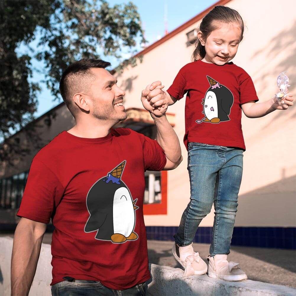 Penguen Baskılı Baba ve Kız Çocuk Tişört Kombini (1)