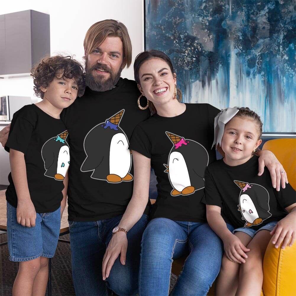 Penguen Baskılı Aile Tişört Kombini