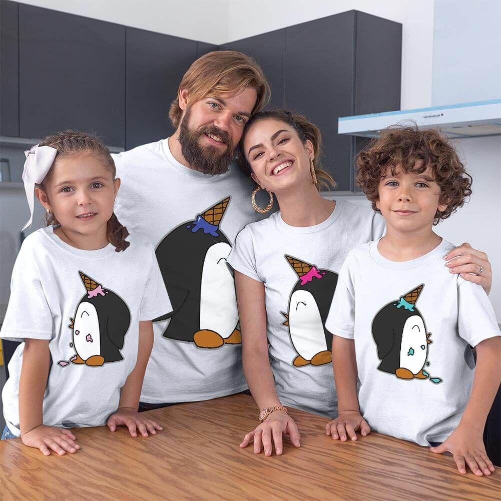 Penguen Baskılı Aile Tişört Kombini (1)