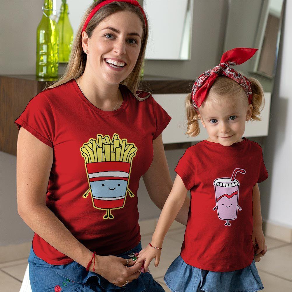 Fastfood Temalı Anne ve Kız Çocuk Tişört Kombini (1)