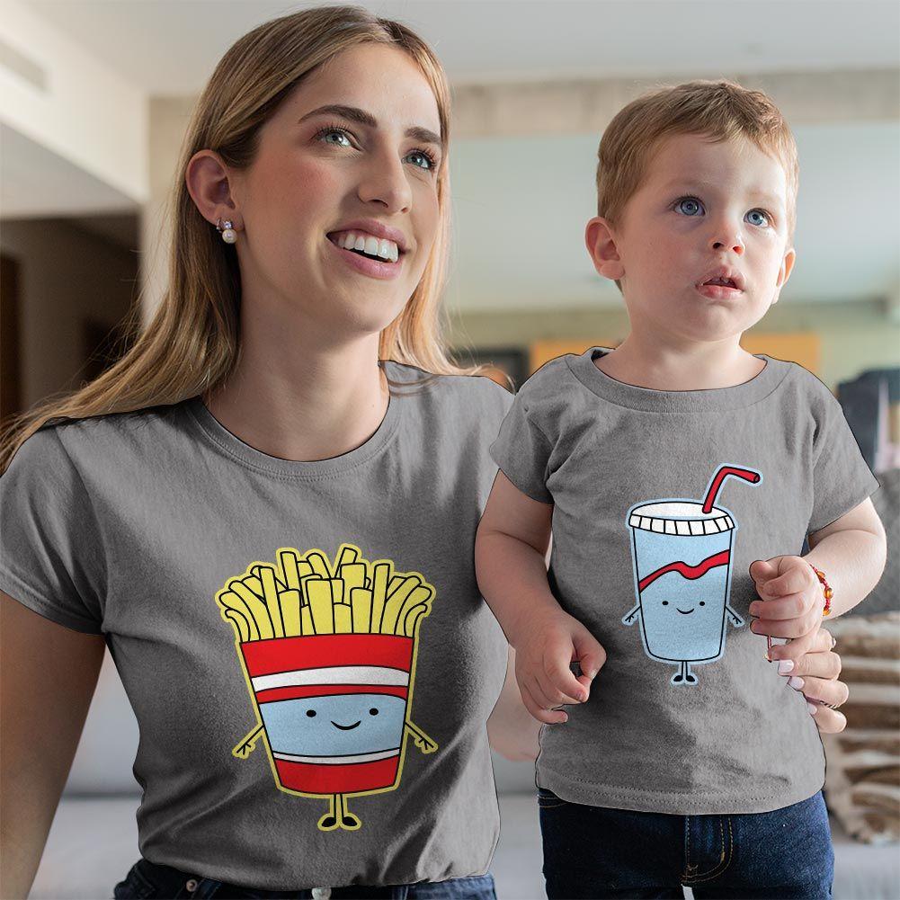 Fastfood Temalı Anne ve Erkek Çocuk Tişört Kombini