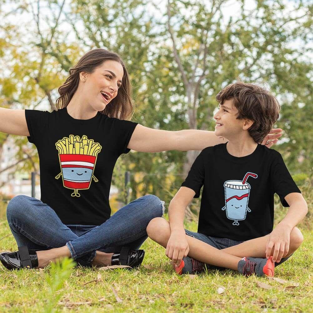 Fastfood Temalı Anne ve Erkek Çocuk Tişört Kombini (1)