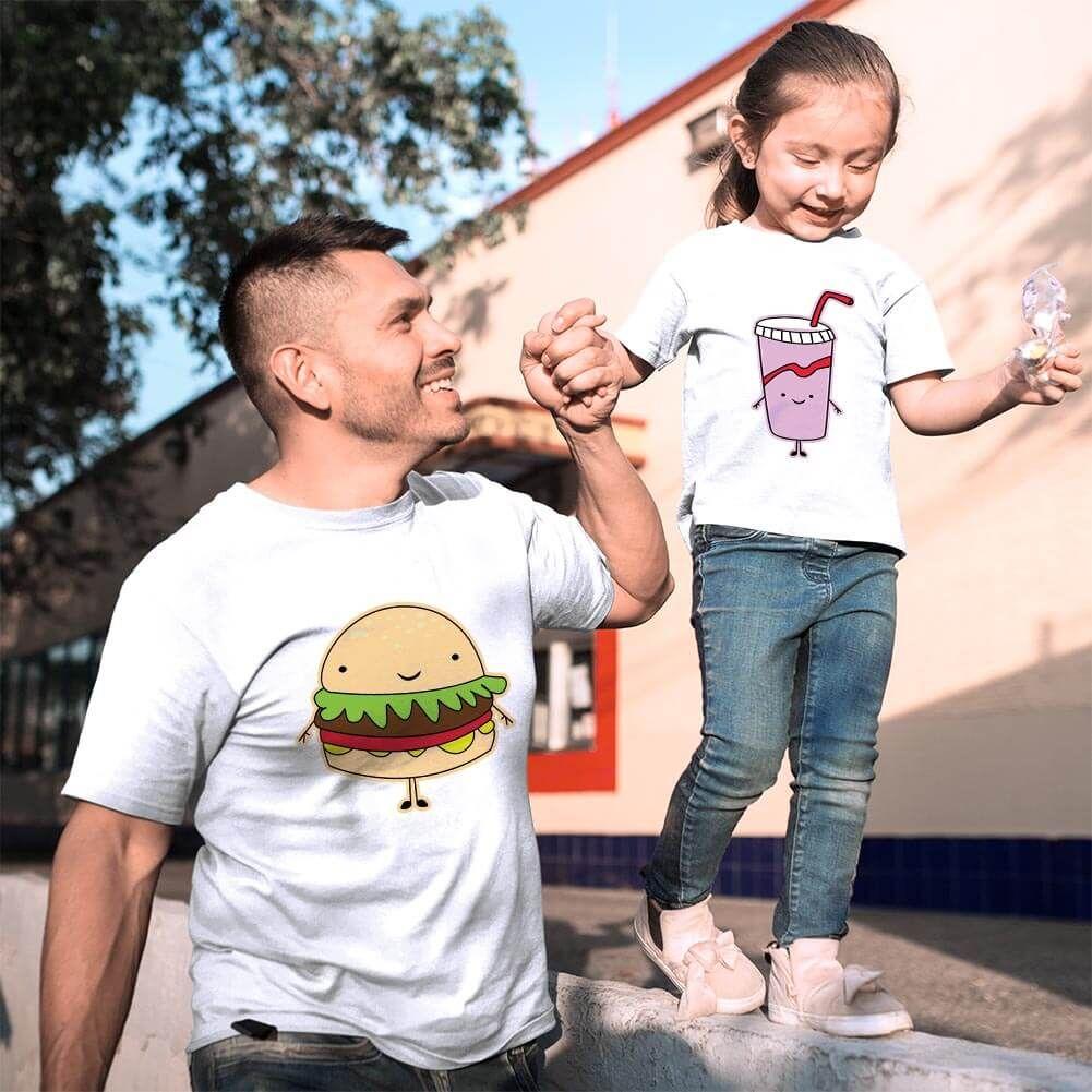 Fastfood Temalı Baba ve Kız Çocuk Tişört Kombini