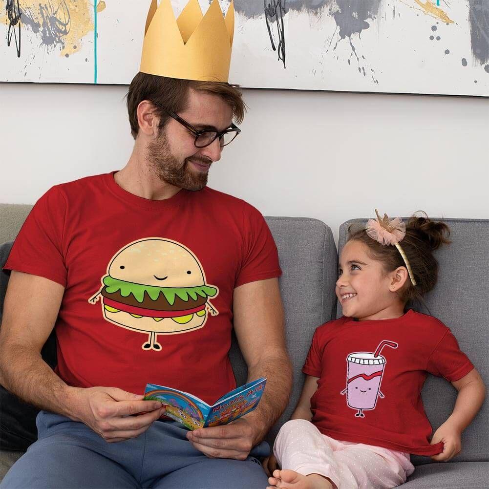 Fastfood Temalı Baba ve Kız Çocuk Tişört Kombini (1)