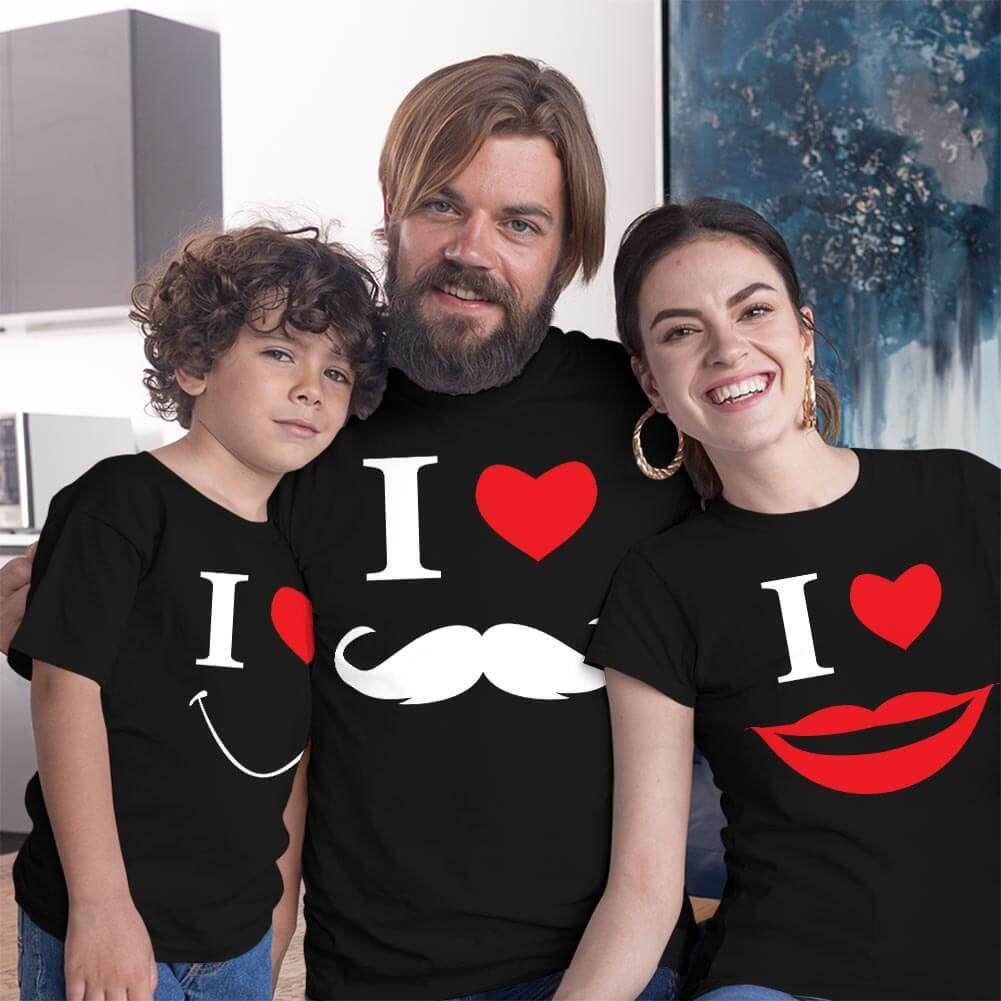 Smile Anne Baba Erkek Çocuk Tişört Kombini