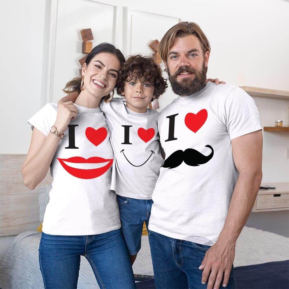 Smile Anne Baba Erkek Çocuk Tişört Kombini (1)
