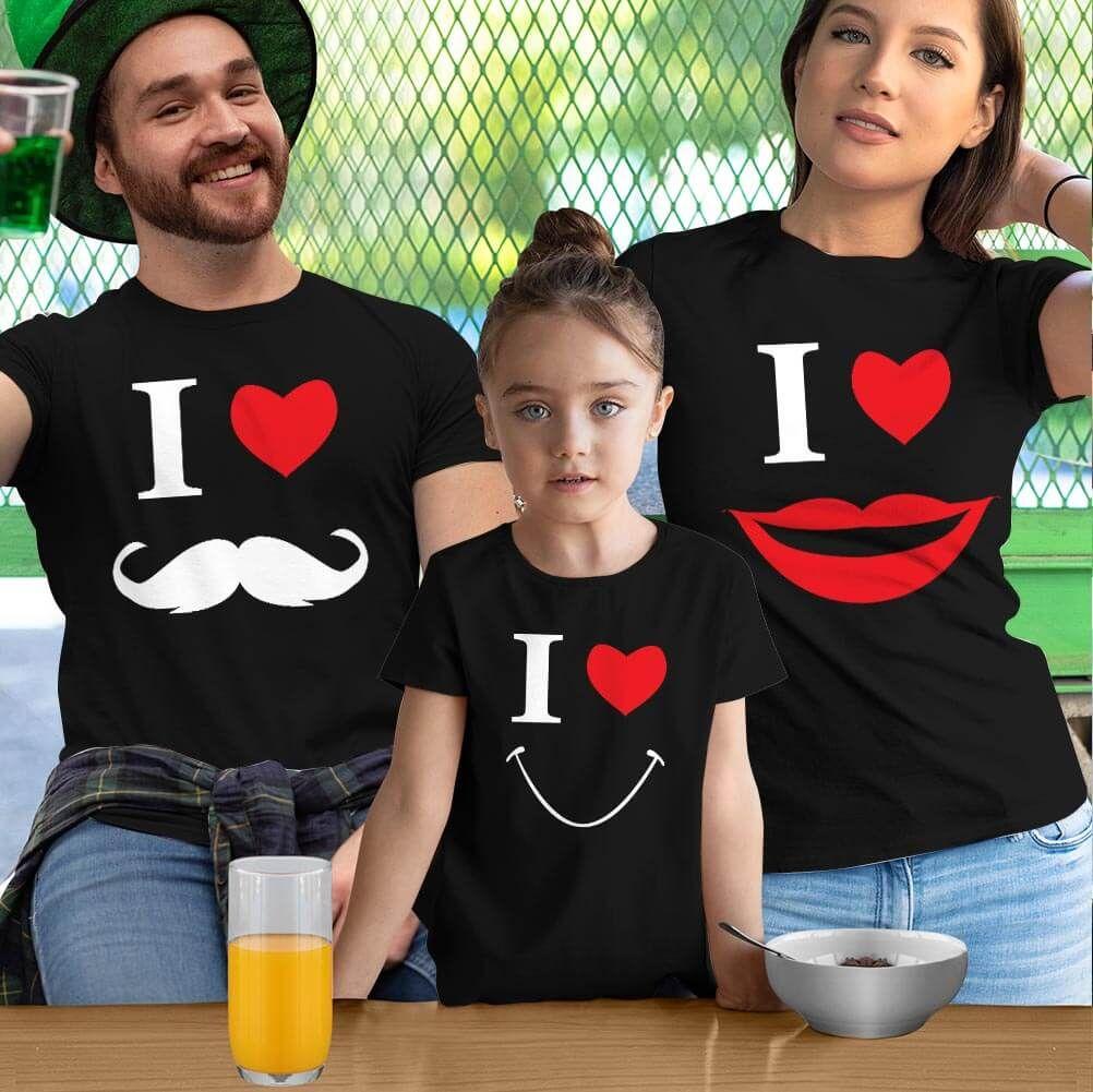 Smile Anne Baba Kız Çocuk Tişört Kombini