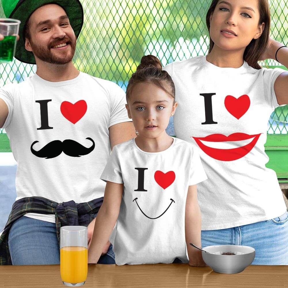 Smile Anne Baba Kız Çocuk Tişört Kombini (1)