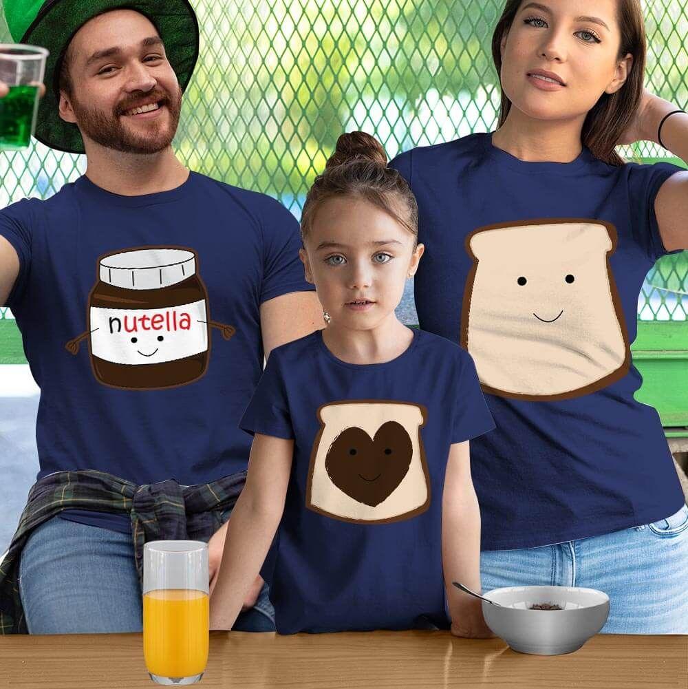 Nutella Anne Baba ve Kız Çocuk Tişört Kombini