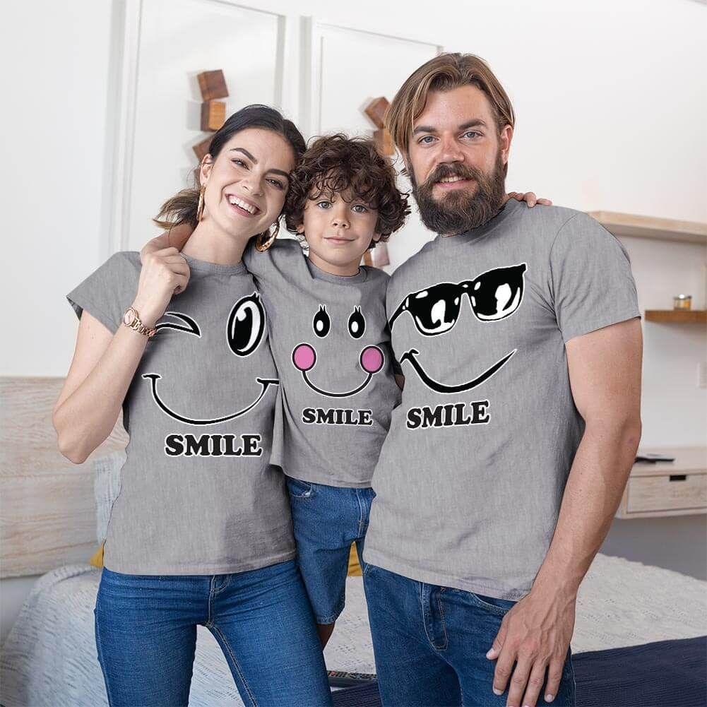 Mutlu Anne Baba Erkek Çocuk Tişört Kombini