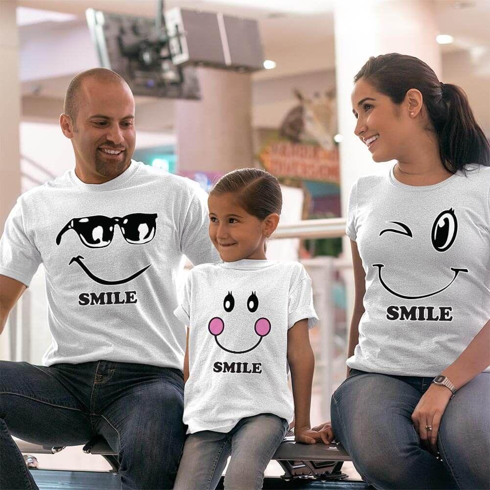 Mutlu Anne Baba Kız Çocuk Tişört Kombini (1)