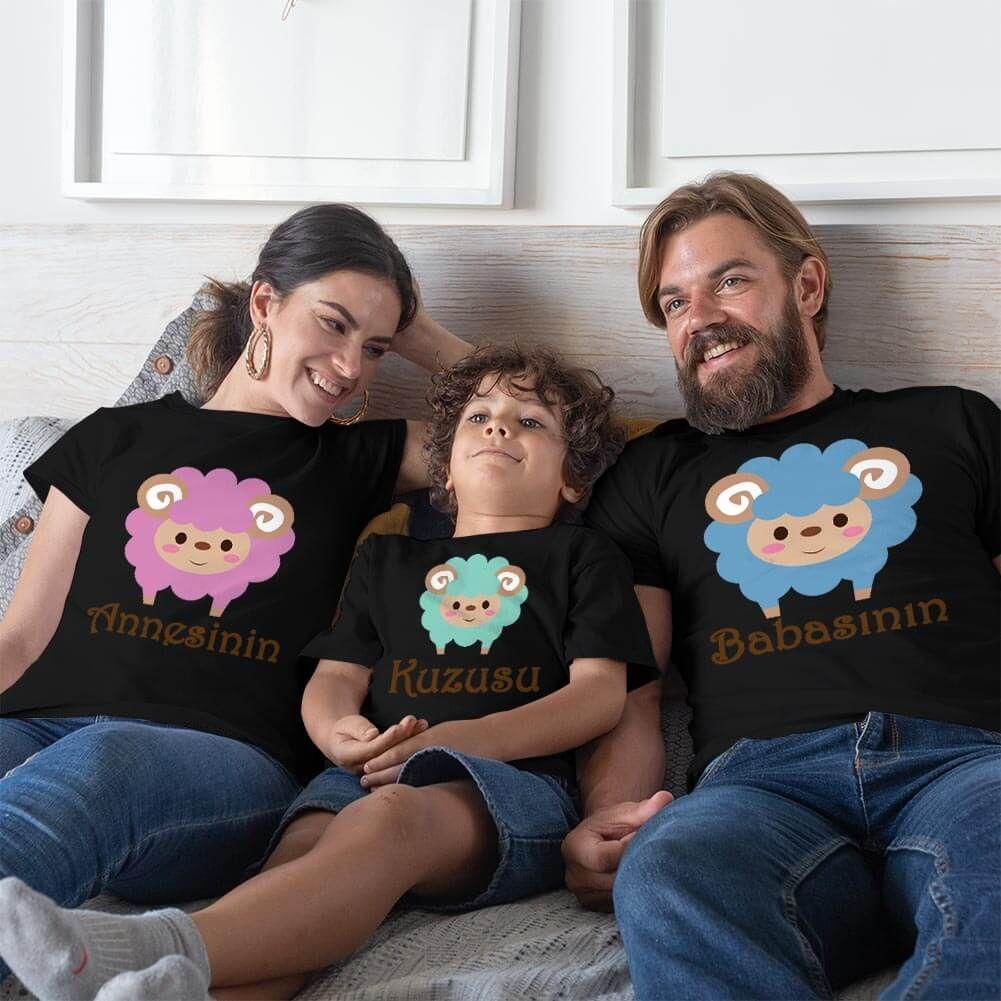 Kuzu Baskılı Anne Baba Erkek Çocuk Tişört Kombini