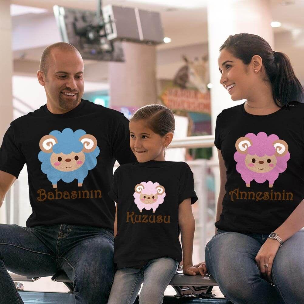 Kuzu Baskılı Anne Baba Kız Çocuk Tişört Kombini