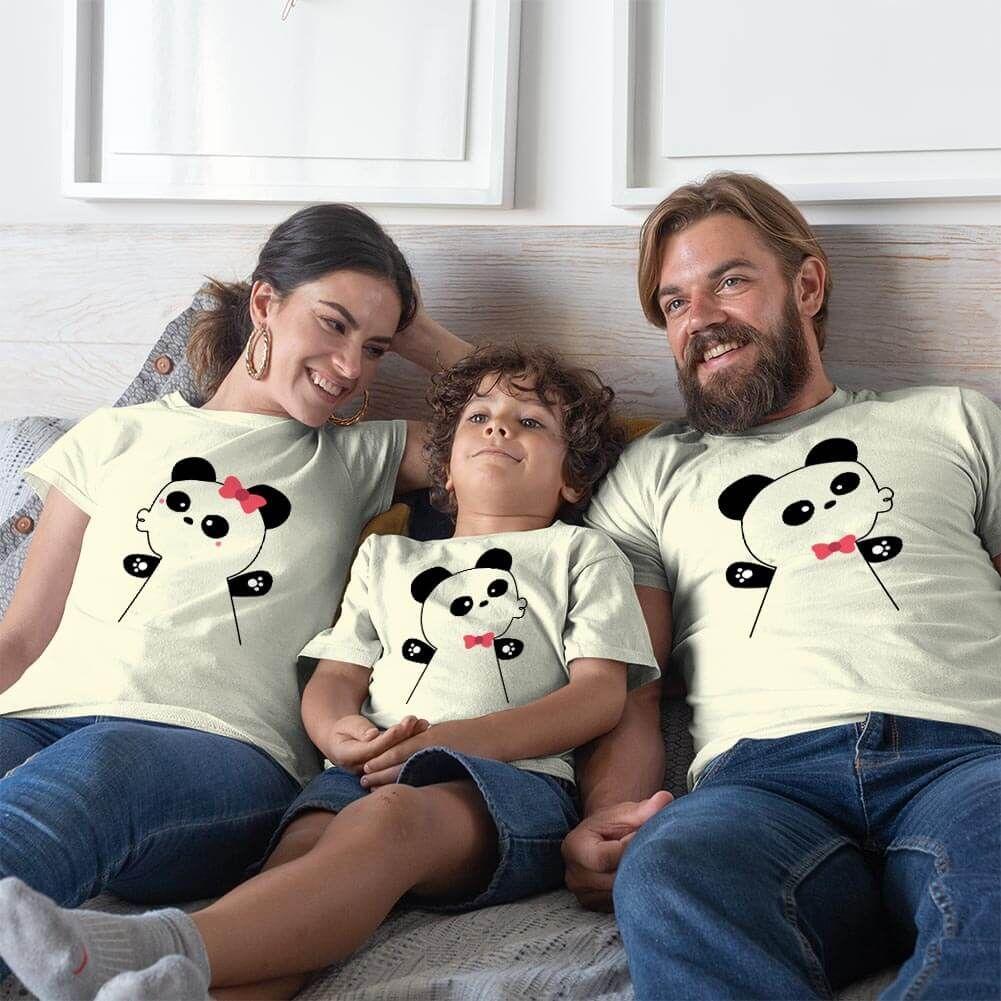 Panda Anne Baba ve Erkek Çocuk Tişört Kombini