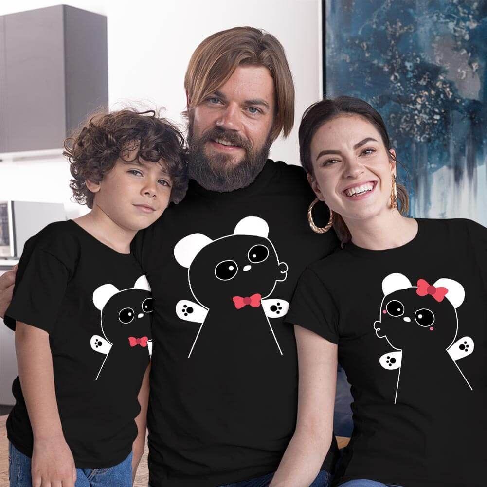 Panda Anne Baba ve Erkek Çocuk Tişört Kombini (1)