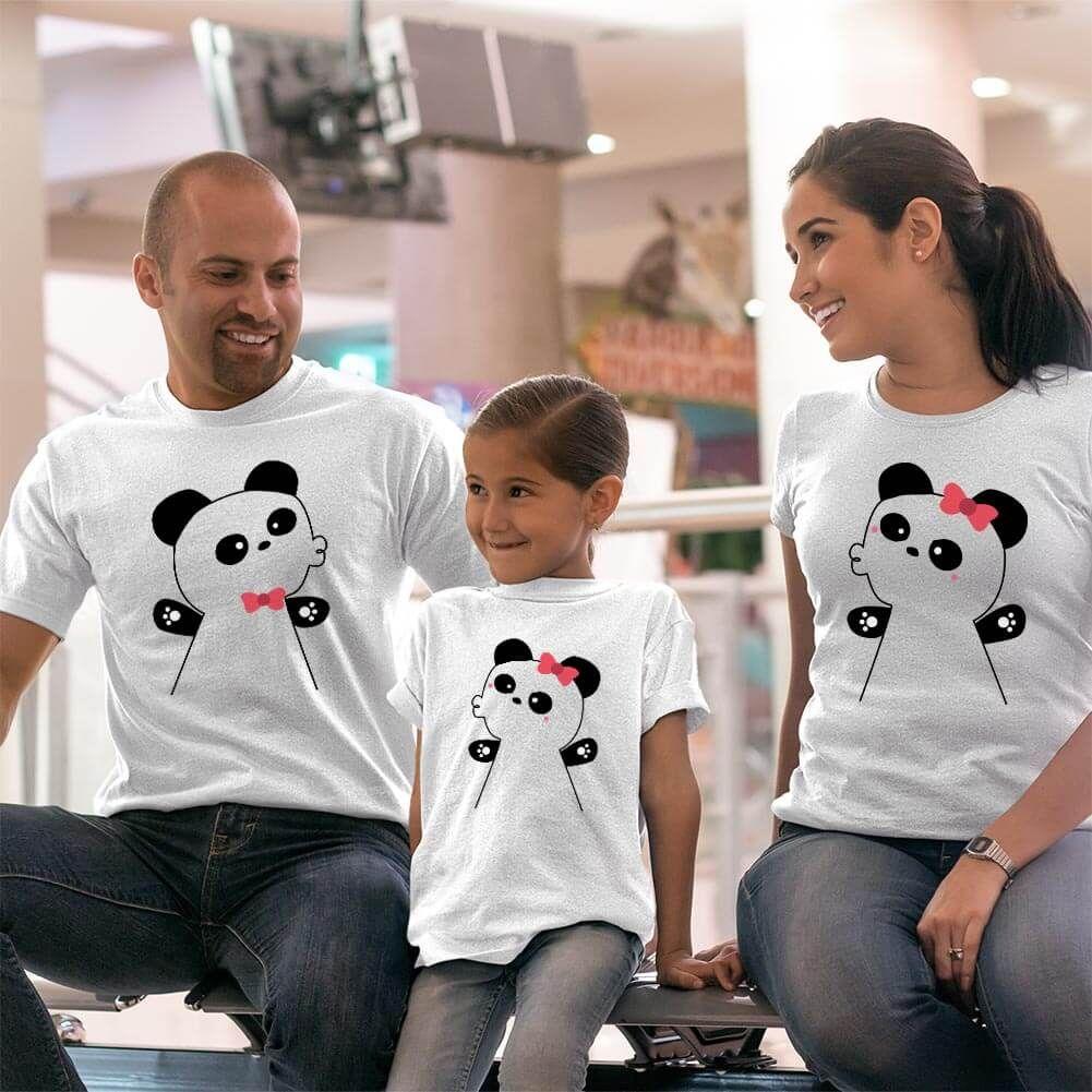 Panda Anne Baba ve Kız Çocuk Tişört Kombini